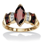 Garnet Rings 0.12 Ct Natural Certified Diamond (1.20 Ct Gemstone) Solid Gold Festive