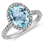 Gemstone Engagement Rings 0.85 Ct Real Certified Diamond (1.50 Ct Blue Topaz) Solid Gold Weekend