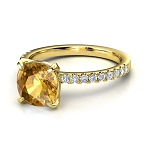 Gemstone Engagement Rings 0.45 Ct Real Certified Diamond (0.70 Ct Golden Topaz) Solid Gold Party