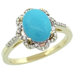 Gemstone Rings Online 0.72 Ct Real Certified Diamond (1.25 Ct Turquoise) Solid Gold Workwear
