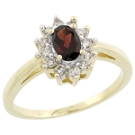 Gemstone Ring Design 0.30 Ct Real Certified Diamond (0.50 Ct Garnet) Solid Gold Vacation