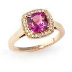 Gemstone Ring Design 0.50 Ct Real Certified Diamond Pinktourmaline Solid Gold Office Wear