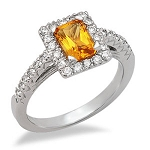 Gemstone Rings 0.66 Ct Natural Certified Diamond (1.50 Ct Golden Topaz) Solid Gold Festive