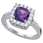 Natural Amethyst Rings 0.60 Ct Natural Certified Diamond (0.80 Ct Gemstone) Solid Gold Weekend