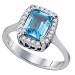 Gemstone Rings 0.42 Ct Natural Certified Diamond (1.00 Ct Blue Topaz) Solid Gold Party