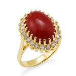 Gemstone Engagement Rings 0.50 Ct Natural Certified Diamond (3.50 Ct Coral) Solid Gold Workwear