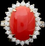 Gemstone Engagement Rings 0.75 Ct Natural Certified Diamond (2.50 Ct Coral) Solid Gold Vacation