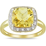 Gemstone Ring Design 0.60 Ct Natural Certified Diamond (1.50 Ct Golden Topaz) Solid Gold Office Wear