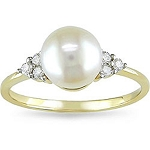 Gemstone Rings Online 0.18 Ct Natural Certified Diamond (2.50 Ct Pearl) Solid Gold Special Occasion