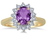 Natural Gemstone Rings 0.28 Ct Natural Certified Diamond (0.70 Ct Amethyst) Solid Gold Festive