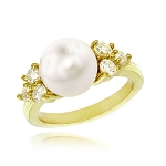 Gemstone Rings 0.30 Ct Natural Certified Diamond (0.70 Ct Pearl) Solid Gold Weekend