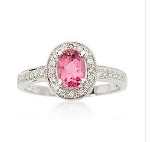 Gemstone Engagement Rings 0.44 Ct Certified Diamond (0.70 Ct Pink Tourmaline) Solid Gold Vacation