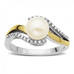 Gemstone Rings Online 0.52 Ct Natural Certified Diamond (4.50 Ct Pearl) Solid Gold Everyday
