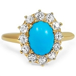 Turquoise Ring Design 0.36 Ct Natural Certified Diamond (2.50 Ct Gemstone) Solid Gold Office Wear