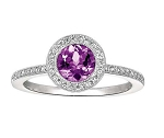 Gemstone Rings 0.82 Ct Natural Certified Diamond Amethyst Solid White Gold Special Occasion