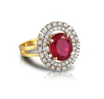 Ruby Diamond Ring 1.00 Ct Natural Certified Diamond (1.10 Ct Gemstone) Solid Gold Office Wear