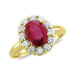 Ruby Gold Ring 0.50 Ct Natural Certified Diamond (1.00 Ct Ruby) Festive