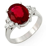 Real Ruby Rings 0.30 Ct Certified Diamond Solid White Gold Everyday