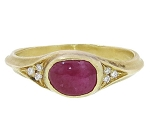 Ruby Rings In Gold 0.15 Ct Natural Certified Diamond (1.05 Ct Gemstone) Special Occasion