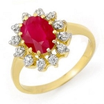 Ruby And Diamond Ring 0.28 Ct 100% Natural Certified Diamond (1.00 Ct Gemstone) Solid Gold Workwear
