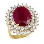 Ruby Diamond Ring 1.75 Ct 100% Natural Certified Diamond (2.55 Ct Gemstone) Solid Gold Everyday