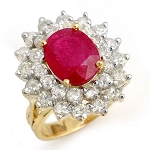 Real Ruby Rings 1.00 Ct 100% Natural Certified Diamond (2.00 Ct Gemstone) Solid Gold Office Wear
