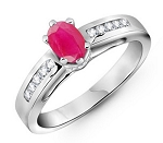 Ruby Ring 0.50 Ct Natural Certified Diamond (0.50 Ct Gemstone) Solid Gold Special Occasion
