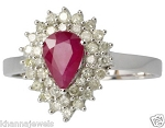Ruby Diamond Ring 0.76 Ct Natural Certified Diamond (0.90 Ct Gemstone) Solid Gold Party