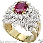 Ruby Gold Ring 2.25 Ct Natural Certified Diamond (1.50 Ct Gemstone) Solid Gold Workwear