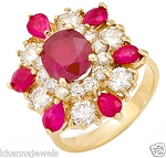 Ruby Rings In Gold 0.58 Ct Natural Certified Diamond (2.25 Ct Gemstone) Vacation