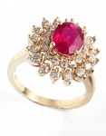 Real Ruby Rings 0.85 Ct Natural Certified Diamond (1.00 Ct Gemstone) Solid Gold Everyday