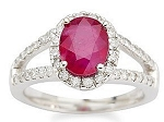 Ruby Gold Ring 0.80 Ct Real Certified Diamond (1.30Ct Gemstone) Solid Gold Office Wear