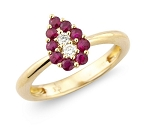 Ruby Ring Design 0.15 Ct Real Certified Diamond (0.40Ct Gemstone) Solid Gold Festive