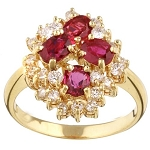 Ruby Ring Design 0.85 Ct Real Certified Diamond (1.00 Ct Gemstone) Solid Gold Party