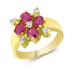 Ruby Rings For Women 0.25 Ct Real Certified Diamond (0.80 Ct Gemstone) Solid Gold Workwear