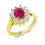 Ruby Ring Design 0.34 Ct Real Certified Diamond (1.05 Ct Gemstone) Solid Gold Vacation