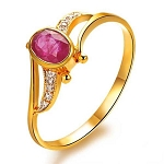 Ruby Ring 0.15 Ct Real Certified Diamond (0.65 Ct Gemstone) Solid Gold Everyday