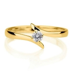 0.35 Ct Natural Certified Diamond Solid Yellow Gold Solitaire Ring Engagement
