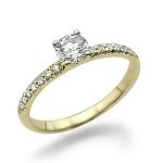 0.70 Ct Cen 0.40 Ct Natural Certified Diamond Solid Yellow Gold Ring Wedding