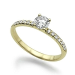 0.55 Ct Cen 0.25 Ct Natural Certified Diamond Solid Yellow Gold Ring Wedding