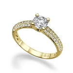 2.00 Ct Cen 1.00 Ct Natural Certified Diamond Solid Yellow Gold Ring Wedding