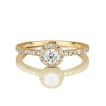 1.45 Ct Cen 0.60 Ct Natural Certified Diamond Solid Yellow Gold Ring Wedding