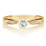 0.50 Ct Cen 0.35 Ct Natural Certified Diamond Solid Gold Ring Wedding