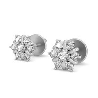 Diamond Drop Earrings 0.17 ct Natural Certified Solid Gold Designer Studs