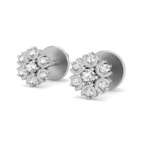 Gold Diamond Earrings 0.18 ct Wedding Designer Studs