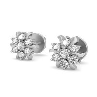 Gold Earrings 0.16 ct Diamond Designer Studs