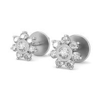 Gold Diamond Earrings 0.42 ct Designer Beautiful Studs