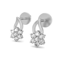 Designer Earrings 0.14 ct Diamond Natural Certified Solid Gold Studs