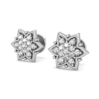 Gold Earrings 0.32 ct Diamond Designer Studs
