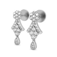 Diamond Drop Earrings 0.44 ct Natural Certified Solid Gold Studs